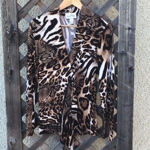 Joseph Ribkoff animal print blouse w/ zip accent